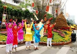 Childrens dress up at Tet holiday